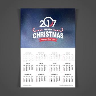 2017 bannière bleue de noël modèle de calendrier