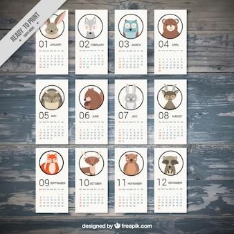 2017 calendrier avec de beaux animaux