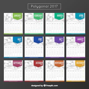 2017 calendrier coloré polygonale