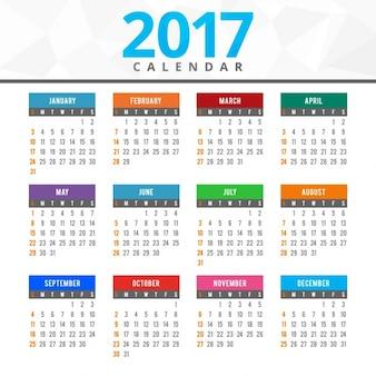 2017 calendrier coloré