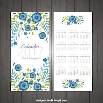 2017 calendrier avec décoration florale