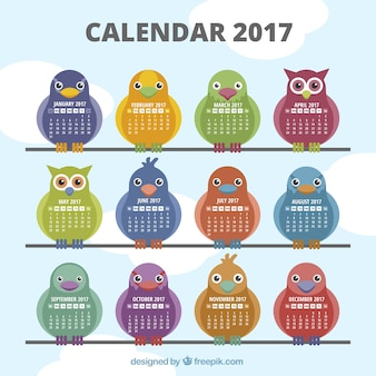 2017 calendrier avec différents types d'oiseaux