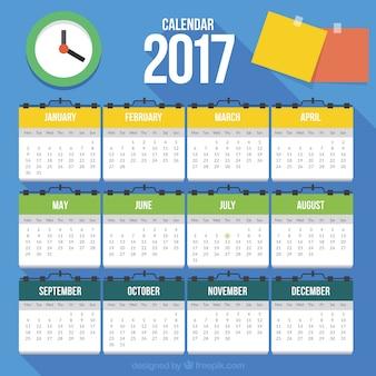 2017 calendrier avec des éléments plats
