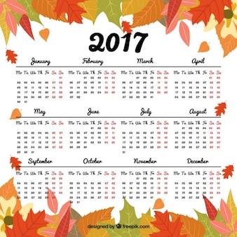 2017 calendrier avec des feuilles décoratives