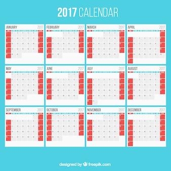2017 calendrier sur un fond bleu