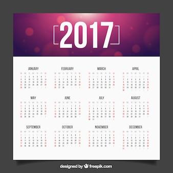 2017 calendrier avec un fond flou