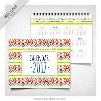 2017 calendrier avec des formes d'aquarelle ethniques