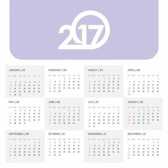 2017 calendrier illustration vectorielle modèle de couleur 2017 calendrier