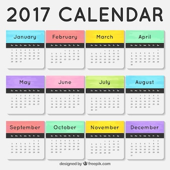 2017 calendrier avec mois de couleur