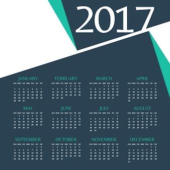 2017 conception de modèle de calendrier avec une forme abstraite