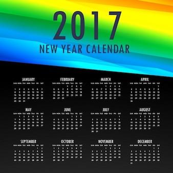 2017 modèle de calendrier avec des formes colorées