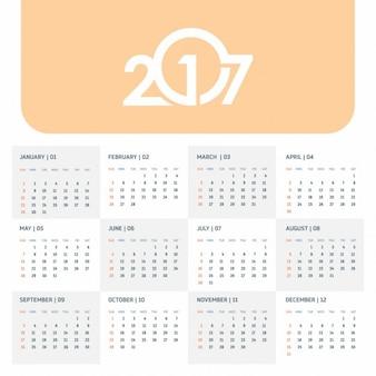 2017 orange calendrier modèle avec tête