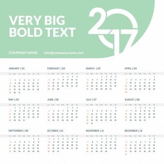 2017 vert modèle de calendrier avec grande tête