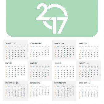 2017 vert modèle de calendrier avec la typographie créative