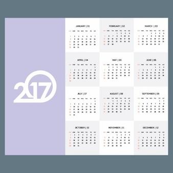 2017 violet modèle de calendrier