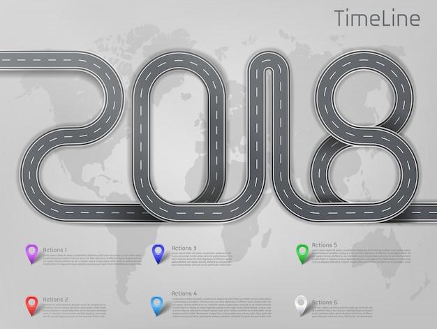 2018 jalon de route de voiture d'entreprise, calendrier, mise en page de présentation d'entreprise