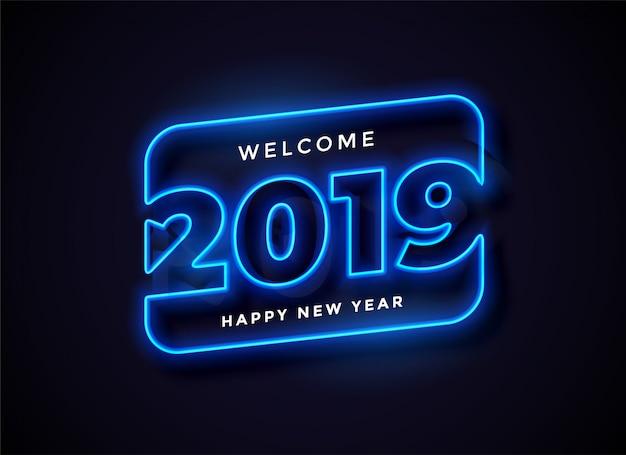 2019 en arrière-plan de style néon