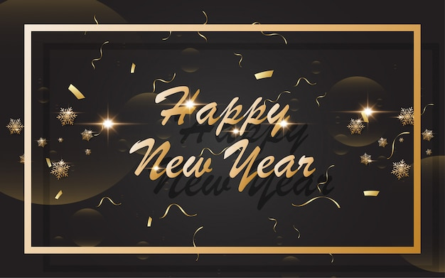 2019 bonne année avec l'alphabet d'or sur fond noir
