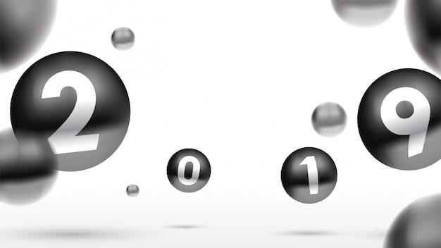 2019 bonne année avec des boules de noël colorées ou des boules abstraites ou des bulles