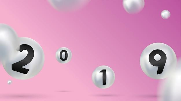 2019 bonne année avec des boules de noël en couleurs ou des boules abstraites
