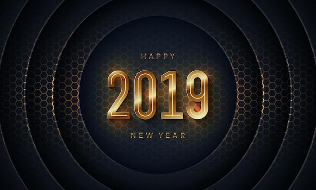 2019 bonne année avec du papier de cercle noir couper l'arrière-plan.