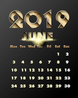 2019 bonne année avec du papier doré coupé style art et artisanat. calendrier pour juin