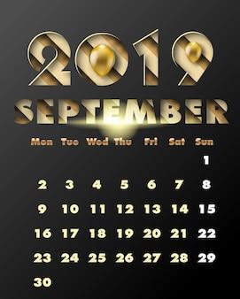 2019 bonne année avec du papier doré coupé style art et artisanat. calendrier pour septembre