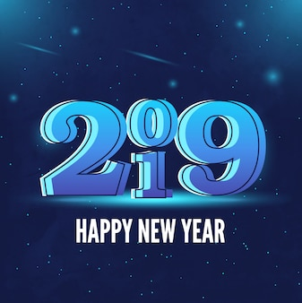 2019 bonne année fond bleu
