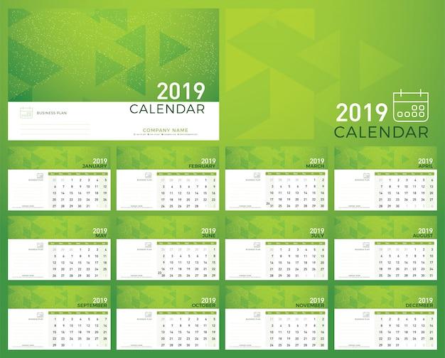 2019 calendrier simple couleur verte minimale