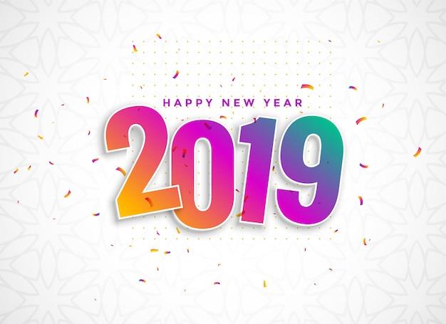 2019 coloré dans un style 3d avec des confettis