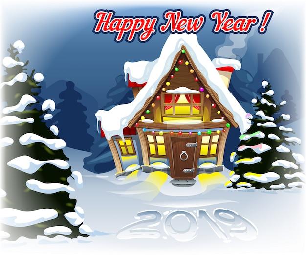 2019 dans la neige avec un paysage du nouvel an