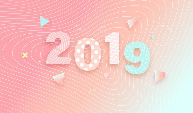 2019 sur fond dégradé doux