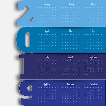 2019 modèle de calendrier moderne