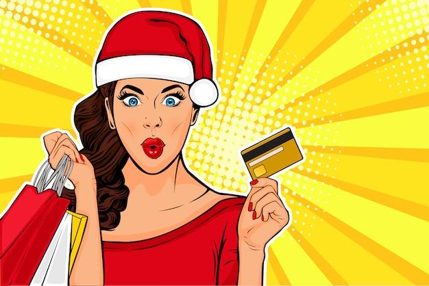 2019 nouvel an pop art wow sexy jeune fille avec sacs et carte de crédit