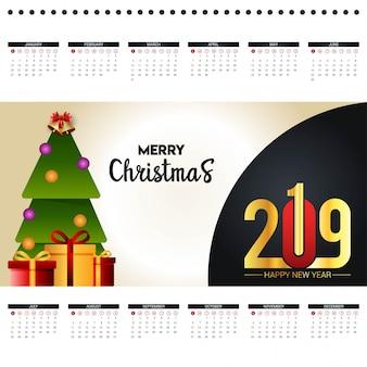 2019 vecteur de conception de calendrier de noël
