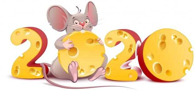 2020 année de souris. rat mignon de bande dessinée est titulaire de fromage