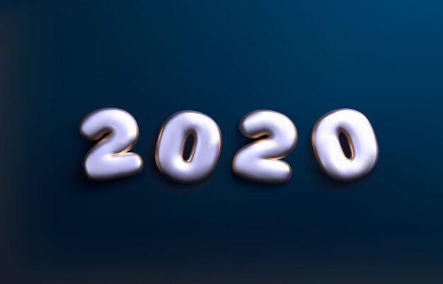 2020 bonne année numéros 3d. ballons 2020.