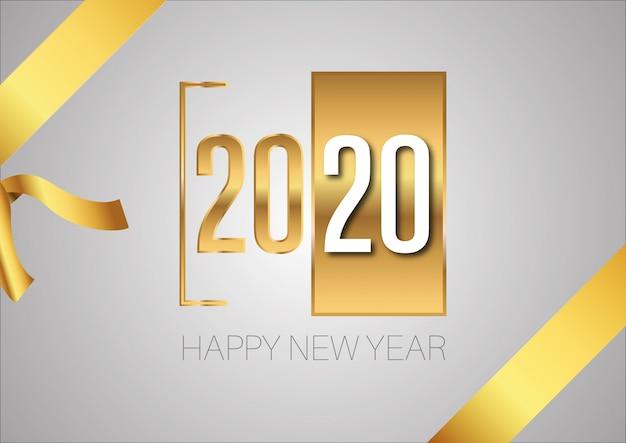 2020 bonne année or signe avec ruban d'or