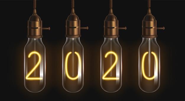 2020 chiffres lumineux à l'intérieur des ampoules à filament