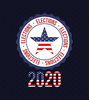 2020 avec l'étoile des états-unis dans la conception de timbres de sceau, le gouvernement de vote des élections présidentielles et le thème de la campagne