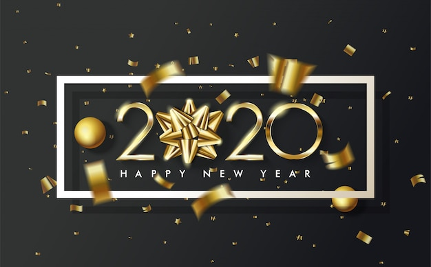 2020 joyeux anniversaire fond avec un ruban d'or remplace le premier 0 en 2020