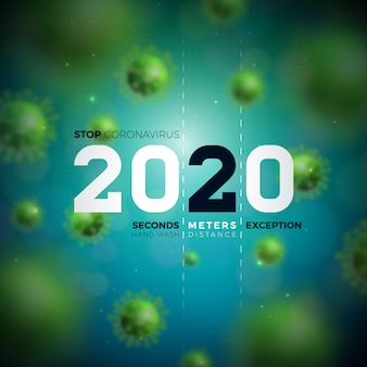 2020 stop coronavirus design with falling covid-19 virus cell on blue background.