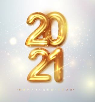 2021 bonne année. bannière de bonne année avec des chiffres métalliques dorés date 2021