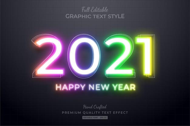 2021 bonne année dégradé néon style de police d'effet de texte modifiable