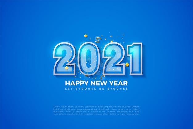 2021 bonne année fond bleu avec des chiffres à rayures blanches audacieuses