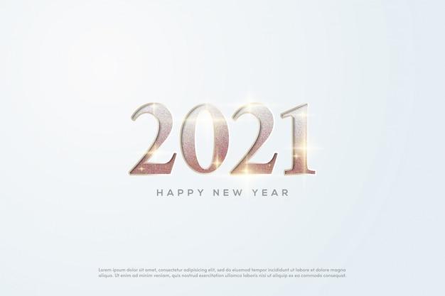 2021 bonne année numéros d'or avec des paillettes brillantes