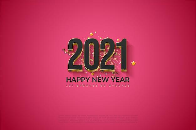 2021 fond de bonne année avec des chiffres plaqués or massif