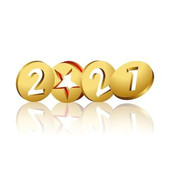 2021 en pièces d'or 3d