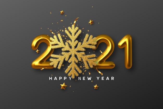 2021 signe de bonne année. flocon de neige paillettes dorées 3d avec guirlandes, étoiles et nombres dorés métalliques 3d sur fond noir.