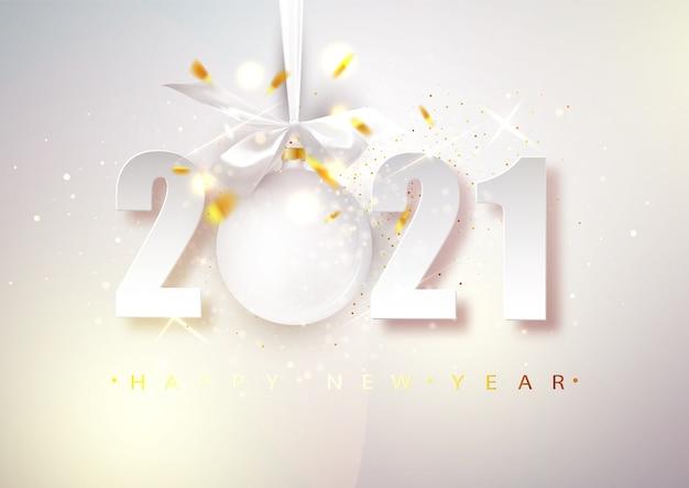 2021 vecteur bonne année. bannière de noël lumineuse avec des chiffres et une boule suspendue.